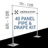 Versatop™ 2.0® - 40-Panel Pipe and Drape Kit / Backdrop - 6-10 Feet Tall (Adjustable)