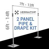 Versatop™ 2.0® - DELUXE-2 Panel Pipe and Drape Kit / Backdrop - 6-14 Feet Tall (Adjustable) Comes W/ 3 Piece Uprights for Maximum Height Adjustment