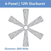 6-Panel 12ft Starburst Ceiling Draping Kit (26 Feet Wide)