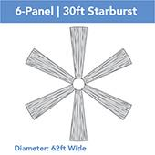 6-Panel 30ft Starburst Ceiling Draping Kit (62 Feet Wide)