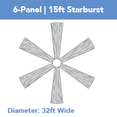 6-Panel 15ft Starburst Ceiling Draping Kit (32 Feet Wide)