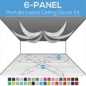 6 Panel Kit - Prefabricated Ceiling Drape Kit - 30ft Diameter - Select Drop, Fabric kind, and Color! Option for all Attachments!