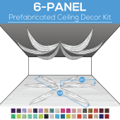 6 Panel Kit - Prefabricated Ceiling Drape Kit - 36ft Diameter - Select Drop, Fabric kind, and Color! Option for all Attachments!