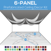 6 Panel Kit - Prefabricated Ceiling Drape Kit - 40ft Diameter - Select Drop, Fabric kind, and Color! Option for all Attachments!