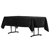 "60"" x 102"" Rectangular 200 GSM Polyester Tablecloth - Black"