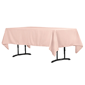 "60"" x 102"" Rectangular 200 GSM Polyester Tablecloth - Blush/Rose Gold"