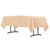 "60"" x 102"" Rectangular 200 GSM Polyester Tablecloth - Champagne"