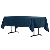 "60"" x 102"" Rectangular 200 GSM Polyester Tablecloth - Navy Blue"