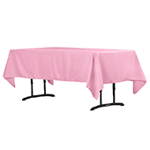 "60"" x 102"" Rectangular 200 GSM Polyester Tablecloth - Pink"
