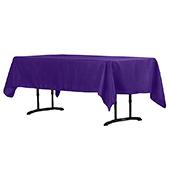 "60"" x 102"" Rectangular 200 GSM Polyester Tablecloth - Purple"
