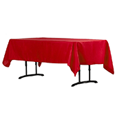 "60"" x 102"" Rectangular 200 GSM Polyester Tablecloth - Red"