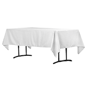 "60"" x 102"" Rectangular 200 GSM Polyester Tablecloth - White"