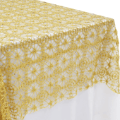 "Dazzle Sequin Lace Rectangular Table Topper/Overlay - 60""x120"" - Gold"