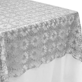 "Dazzle Sequin Lace Rectangular Table Topper/Overlay - 60""x120"" - Silver"