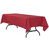 "60"" x 120"" Rectangular 200 GSM Polyester Tablecloth - Apple Red"