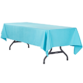 "60"" x 120"" Rectangular 200 GSM Polyester Tablecloth - Aqua Blue"