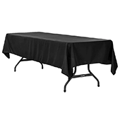 "60"" x 120"" Rectangular 200 GSM Polyester Tablecloth - Black"