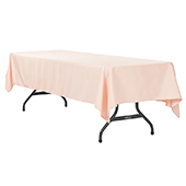 "60"" x 120"" Rectangular 200 GSM Polyester Tablecloth - Blush/Rose Gold"