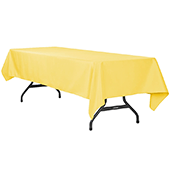"60"" x 120"" Rectangular 200 GSM Polyester Tablecloth - Canary Yellow"