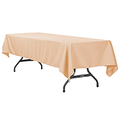 "60"" x 120"" Rectangular 200 GSM Polyester Tablecloth - Champagne"
