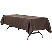 "60"" x 120"" Rectangular 200 GSM Polyester Tablecloth - Chocolate Brown"
