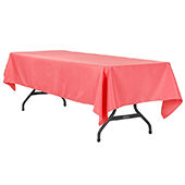 "60"" x 120"" Rectangular 200 GSM Polyester Tablecloth - Coral"