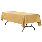 "60"" x 120"" Rectangular 200 GSM Polyester Tablecloth - Gold"