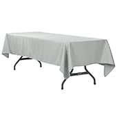"60"" x 120"" Rectangular 200 GSM Polyester Tablecloth - Gray/Silver"
