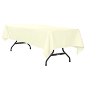 "60"" x 120"" Rectangular 200 GSM Polyester Tablecloth - Ivory"
