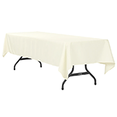 "60"" x 120"" Rectangular 200 GSM Polyester Tablecloth - Light Ivory/Off White"