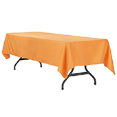 "60"" x 120"" Rectangular 200 GSM Polyester Tablecloth - Orange"