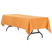 "60"" x 120"" Rectangular 200 GSM Polyester Tablecloth - Orange"