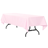 "60"" x 120"" Rectangular 200 GSM Polyester Tablecloth - Pastel Pink"