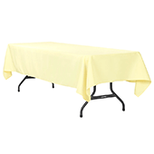 "60"" x 120"" Rectangular 200 GSM Polyester Tablecloth - Pastel Yellow"