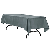 "60"" x 120"" Rectangular 200 GSM Polyester Tablecloth - Pewter"