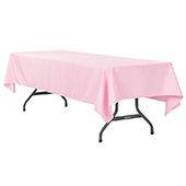 "60"" x 120"" Rectangular 200 GSM Polyester Tablecloth - Pink"