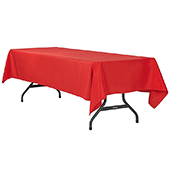 "60"" x 120"" Rectangular 200 GSM Polyester Tablecloth - Red"