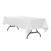 "60"" x 120"" Rectangular 200 GSM Polyester Tablecloth - White"