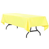 "60"" x 120"" Rectangular 200 GSM Polyester Tablecloth - Yellow"