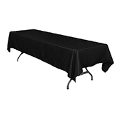 "60"" x 126"" Rectangular 200 GSM Polyester Tablecloth - Black"