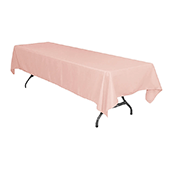 "60"" x 126"" Rectangular 200 GSM Polyester Tablecloth - Blush/Rose Gold"