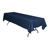 "60"" x 126"" Rectangular 200 GSM Polyester Tablecloth - Navy Blue"