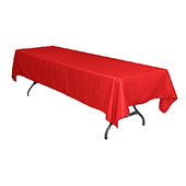 "60"" x 126"" Rectangular 200 GSM Polyester Tablecloth - Red"