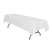"60"" x 126"" Rectangular 200 GSM Polyester Tablecloth - White"