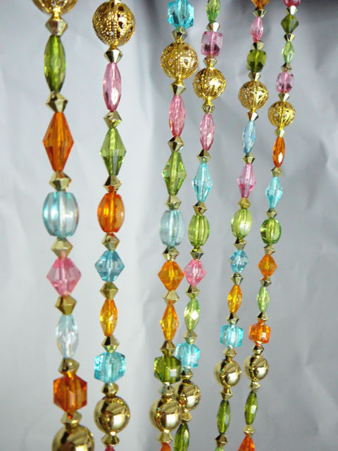 6ft Pastel Colored Crystal Beaded Curtain