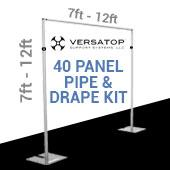 Versatop™ 2.0® - 40-Panel Pipe and Drape Kit / Backdrop - 7-12 Feet Tall (Adjustable)