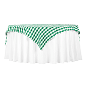 "70"" Square 175 GSM Polyester Checkered Tablecloth / Overlay - Green & White"