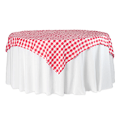 "70"" Square 175 GSM Polyester Checkered Tablecloth / Overlay - Red & White"