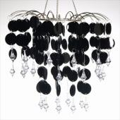 Decostar™ Round PVC Circle Chandelier with Crystals - Black