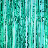 "Sparkling Metallic Foil Fringe Curtain 96"" - 12 Pieces - Aqua"